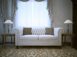 White linen cotton sofa with lamps on tables both sides