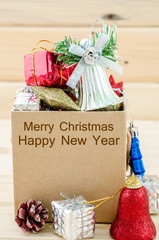 Christmas decoration in box with Merry Christmas and Happy New Y