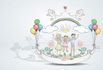 happy family / like it was drawn by child