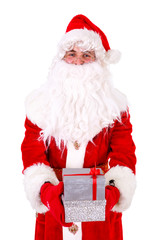 Santa Claus giving small gift boxes to camera Closeup Portrait. Isolated on White Background. Xmas Concept