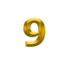 The Number 9, in the number alphabet set yellow gold color isola