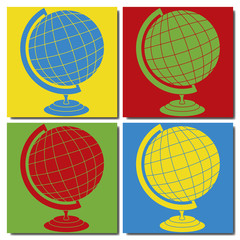 Mappemonde pop art
