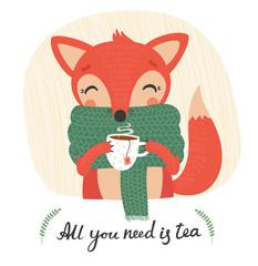 Cute cartoon fox with tea