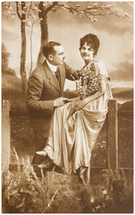 romantic couple of woman and man