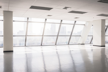 empty office space with large window