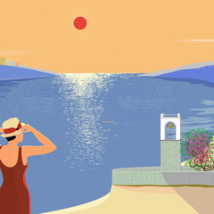 Vector illustration of a hot day at the seaside with a view of the bell tower