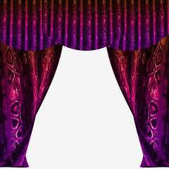Velvet folded curtains with glittering abstract pattern
