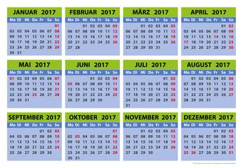 Kalender 2017, Vorlage
