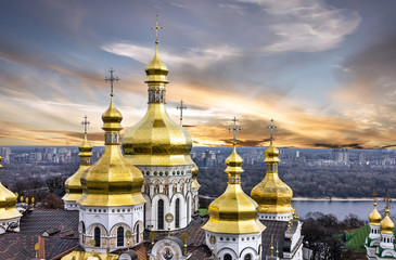 Keuken foto achterwand Kiev Kiev, Ukraine. Sunset view on Pechersk Lavra Monastery