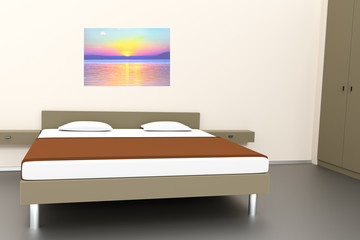 Bedroom with double bed, 3D