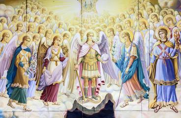 Kiev, Ukraine. Archangels council. Fragment, historical picture