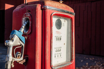 Vintage, red, gas or petrol pump; memory of road trips