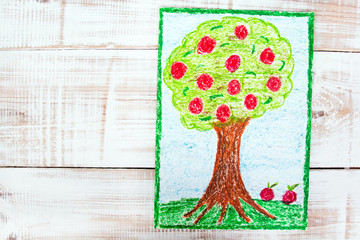 colorful drawing: apple tree