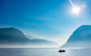 Fisherman at Lugano Lake, Switzerland