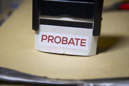Probate stamp on a big folder of paperwork