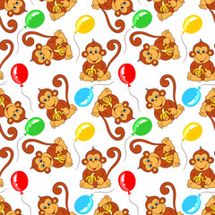 seamless pattern from monkey with banana and balloons. Vector illustration