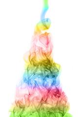 Christmas tree of rainbow smoke
