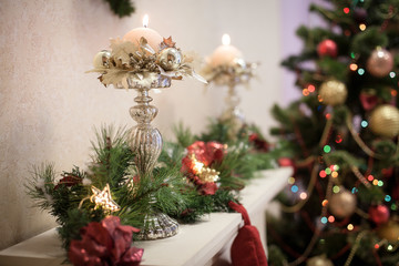 Candlestick decorated in Christmas style