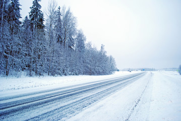 snowy winter road background