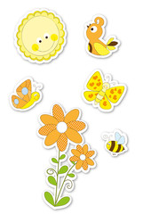 set of cute cartoon nature stickers / spring , summer