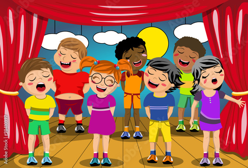799ae4eabe667 Multicultural kids singing on stage at school play