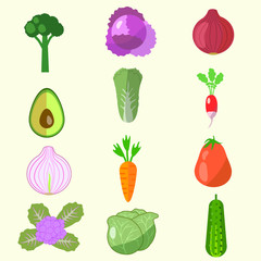 set of vegetables, cabbage, avocado, onion