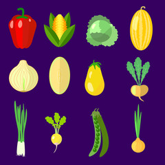 set of vegetables, cabbage,  onion, pepper
