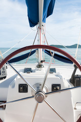 Yacht steering wheel and controllers, traveling in a luxury life