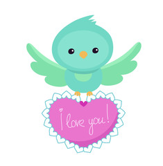 Greeting card.Cute bird on a white background