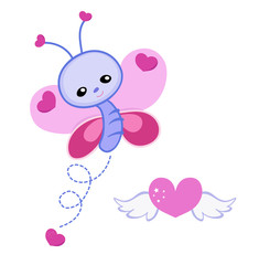Greeting card. Cute butterfly with hearts on a white background