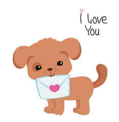 Greeting card. Cute puppy with an envelope on a white background.