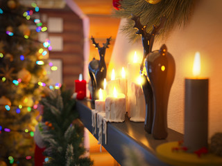 3D rendering New year interior with Christmas tree, presents and fireplace in the house from a log. Postcard decorated christmas tree.