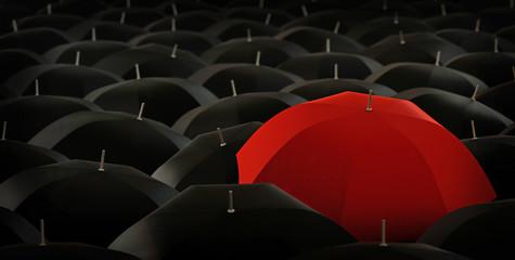 red umbrella in blacks