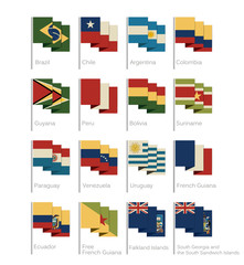 South America Flags Collection Flat Cartoon Style Vintage Colors