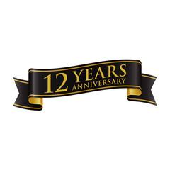 Simple Black Gold Ribbon Anniversary logo 12