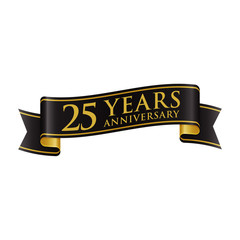 Simple Black Gold Ribbon Anniversary logo 25