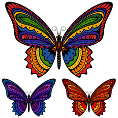 Vector illustration of a colorful patterned butterfly, in three different color schemes.