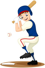 Vector illustration of a cartoon boy playing baseball.