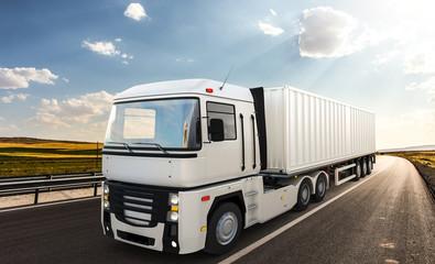 Semi-trailer truck with beautiful landscape