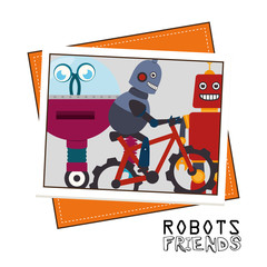 Funny robot cartoon