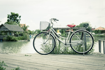 Bicycle with landscape the calm in the garden. Vintage tone