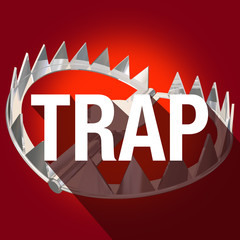 Steel Bear Trap Long Shadow Word Caught Danger Risk Warning