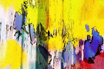 Грязный фон, текстуры и цвета, деталь от городского граффити стены, покрашенной разноцветной краской.