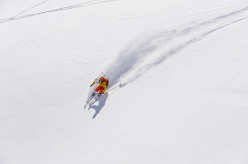 Austria, Young woman doing alpine skiing