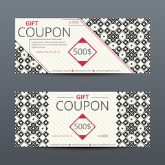 Gift voucher with elegant geometric design. Vector template for coupon or discount card.