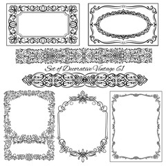 Set of decorative Vintage borders and frames
