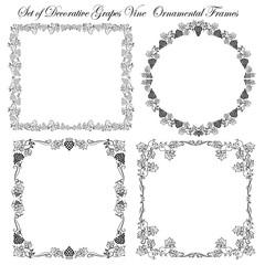 Set of Grape Vine Ornamental borders
