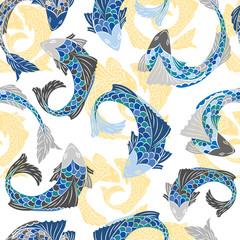 Seamless pattern with fish pattern