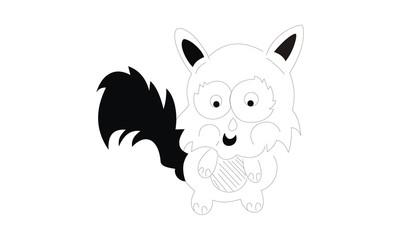 cartoon squirrel hand draw design
