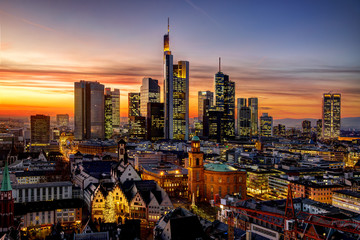 Frankfurt am Main at night, Germany Wall mural